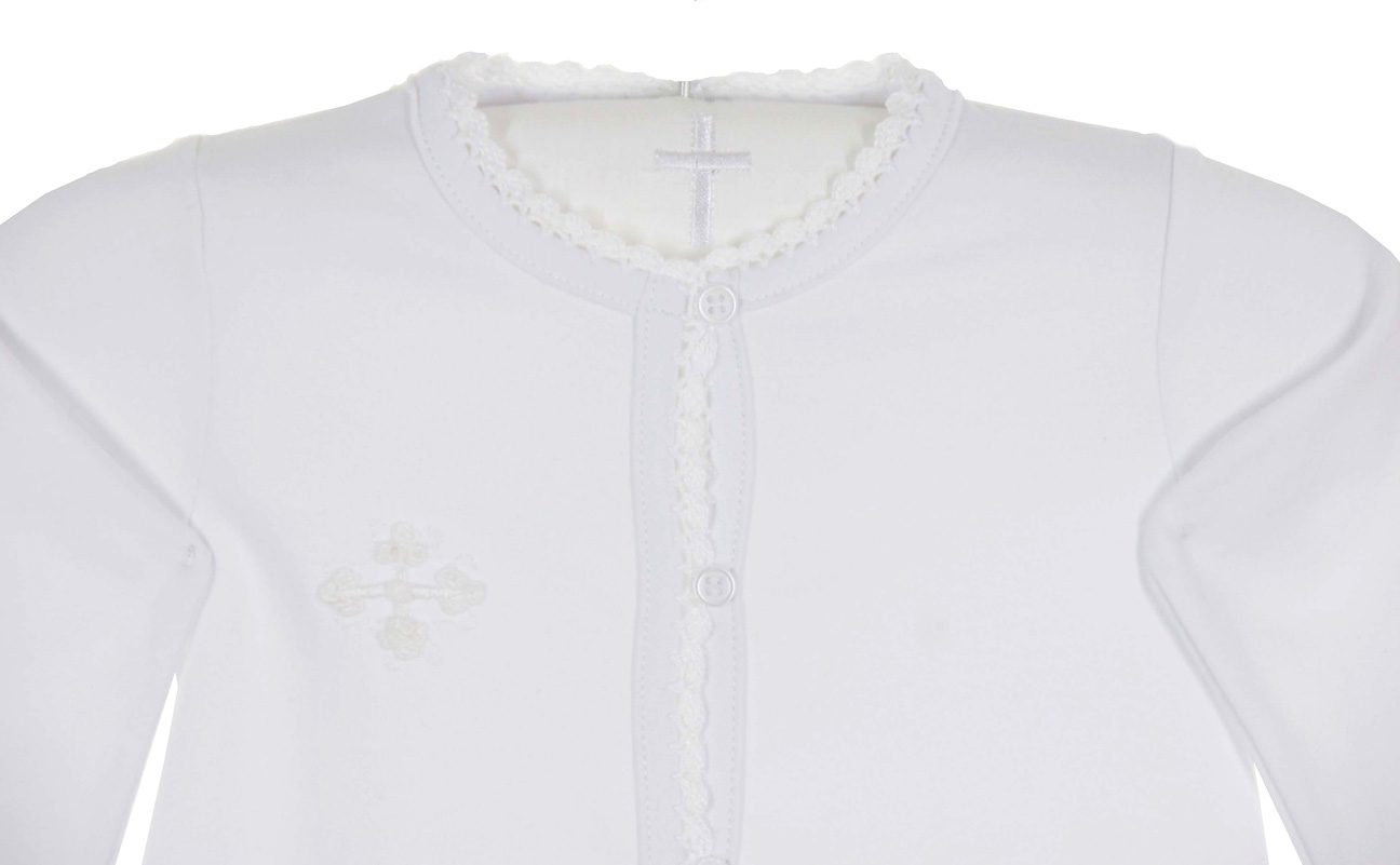 Squiggles By Charlie White Pima Cotton Knit Daygown With Embroidered