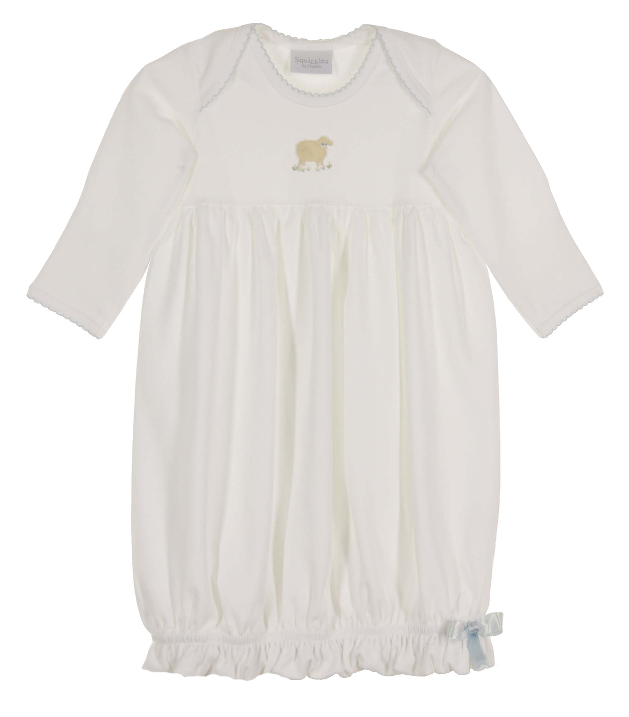 Squiggles By Charlie White Pima Cotton Knit Gown With Embroidered