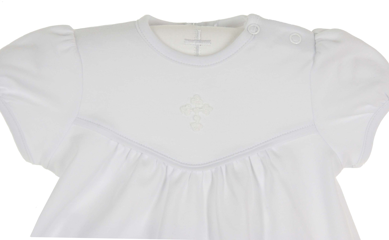 Squiggles By Charlie White Pima Cotton Knit Dress With Embroidered