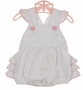 NEW Sweet Potato Kids White Ruffle Bottom Sunsuit with Pink Rick Rack Trim