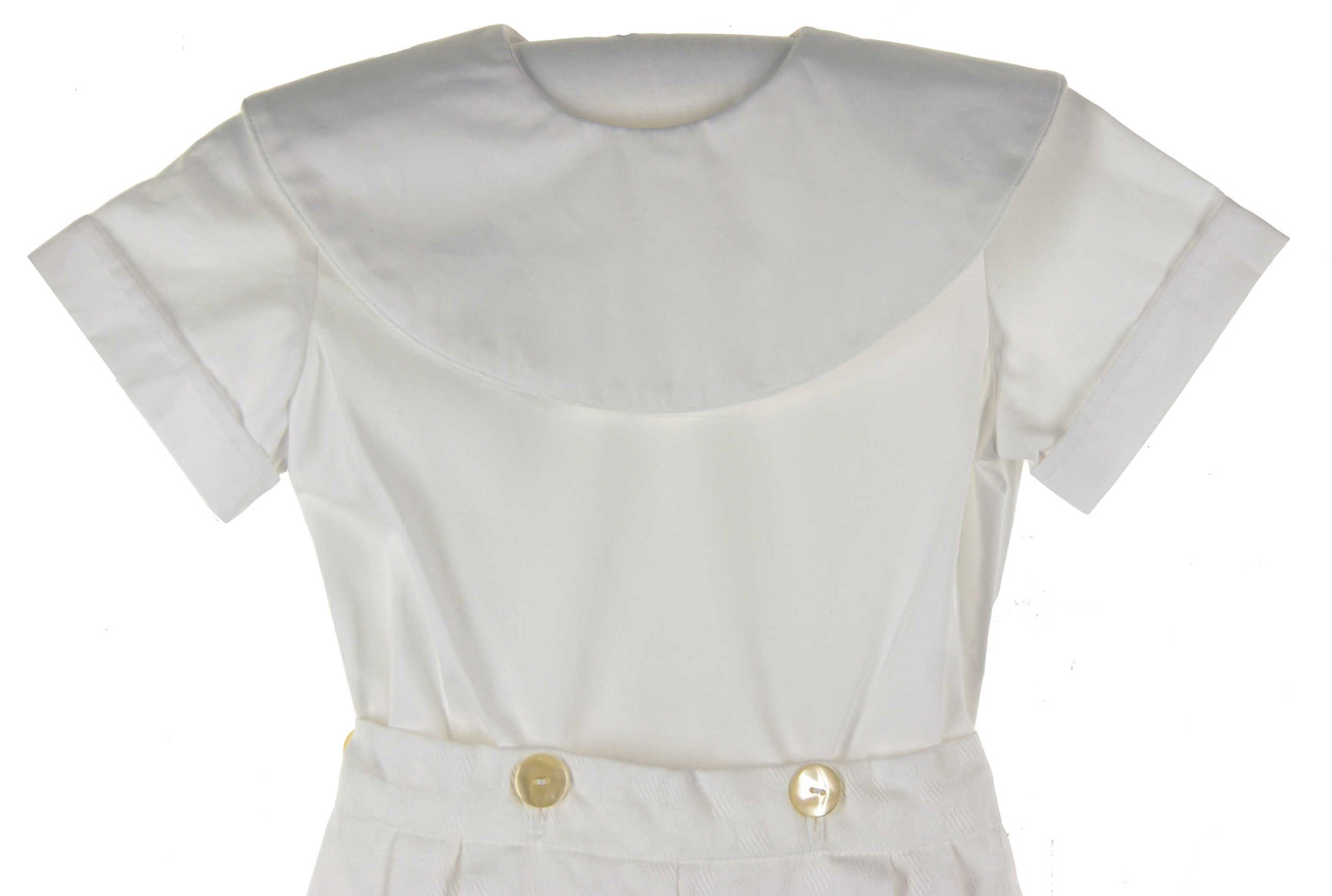victorian heirlooms white cotton shorts set with monogrammable collar little boys white cotton