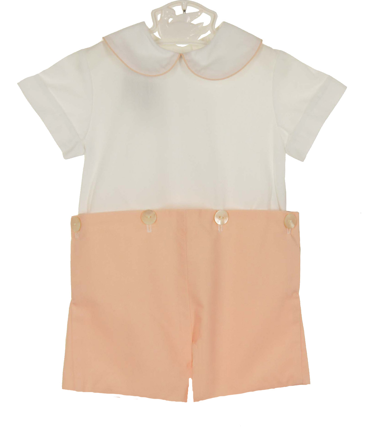 5deec45df0339 Victorian Heirlooms apricot and white toddler shorts set,peach and ...