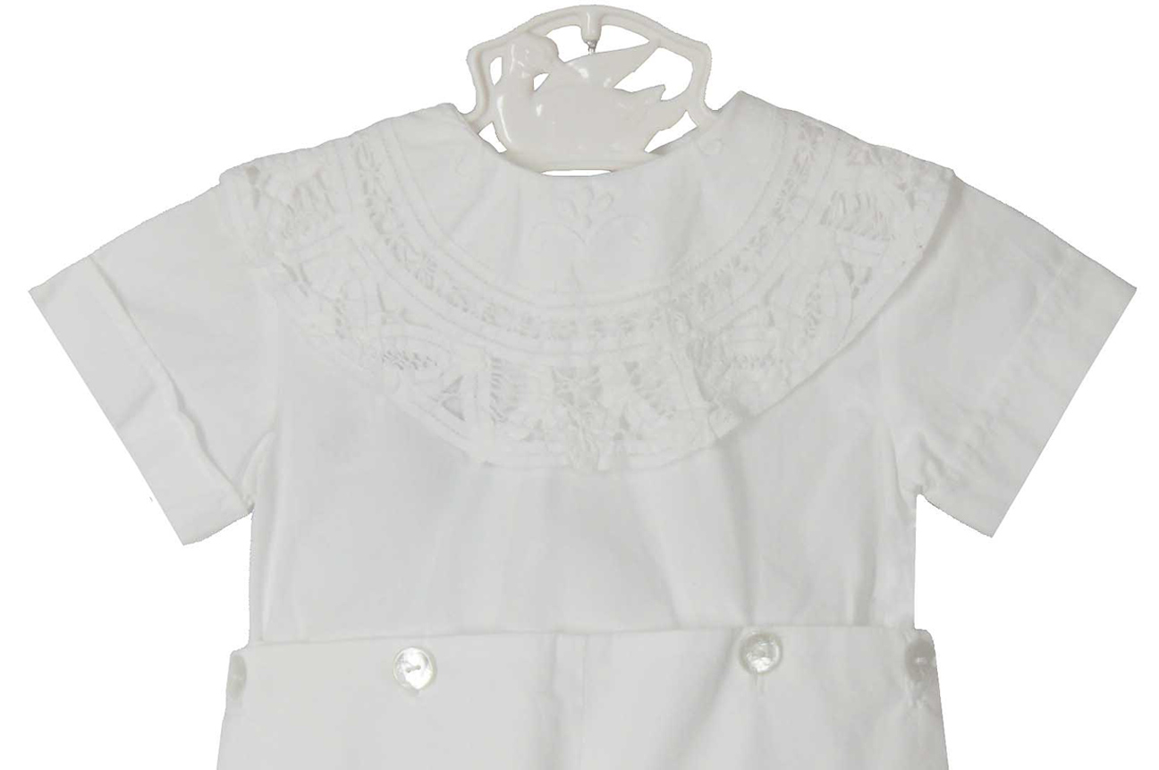 40b536a12b320 NEW Victorian Heirlooms White Cotton Button on Shorts Set with Battenburg  Lace Trimmed Collar