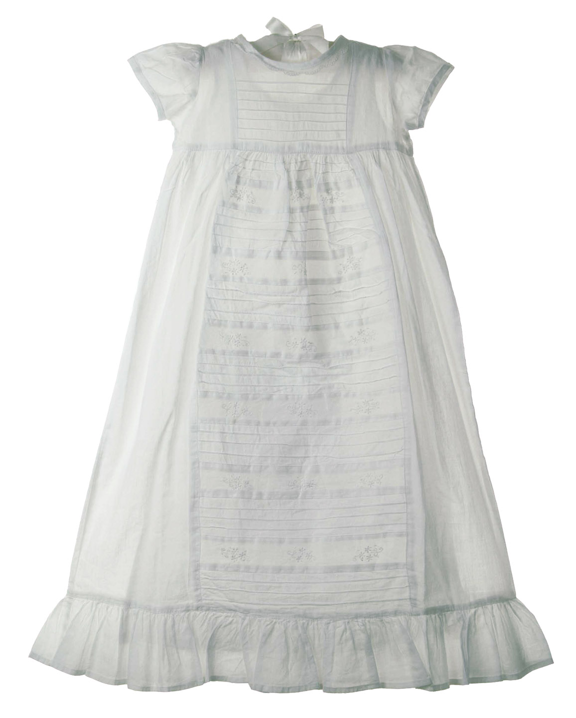 vintage style white cotton christening gown with pin tucks and ...