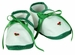 NEW White Baby Shoes with Green Satin Ribbon Trim