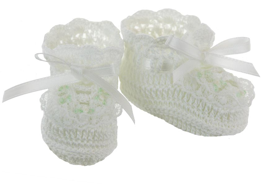 New White Crocheted Booties With Lace Trim And Delicate