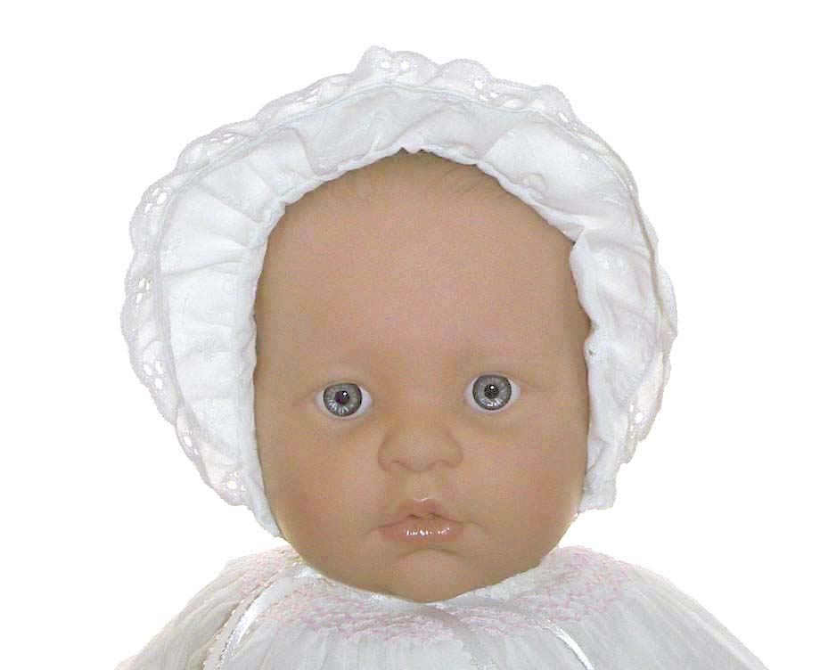 New White Eyelet Baby Bonnet With Pintucks And Eyelet Trim