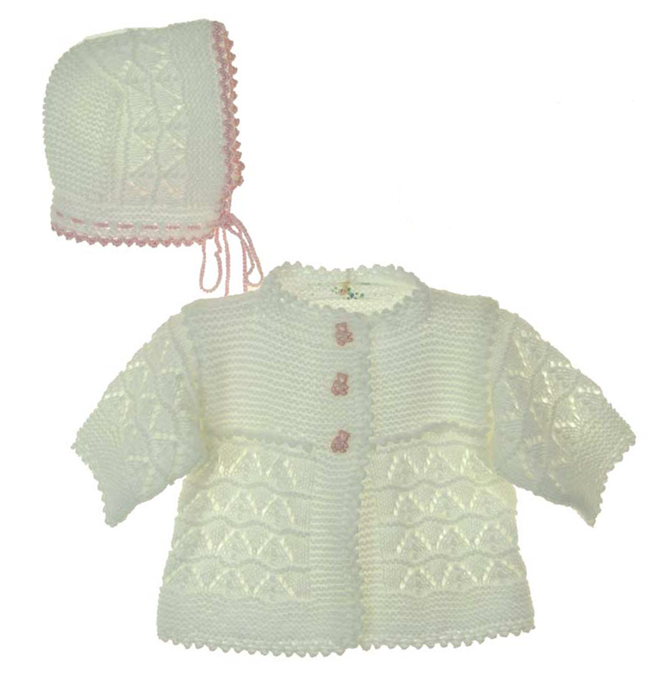 762239272 white hand crocheted sweater and hat with teddy bear buttons