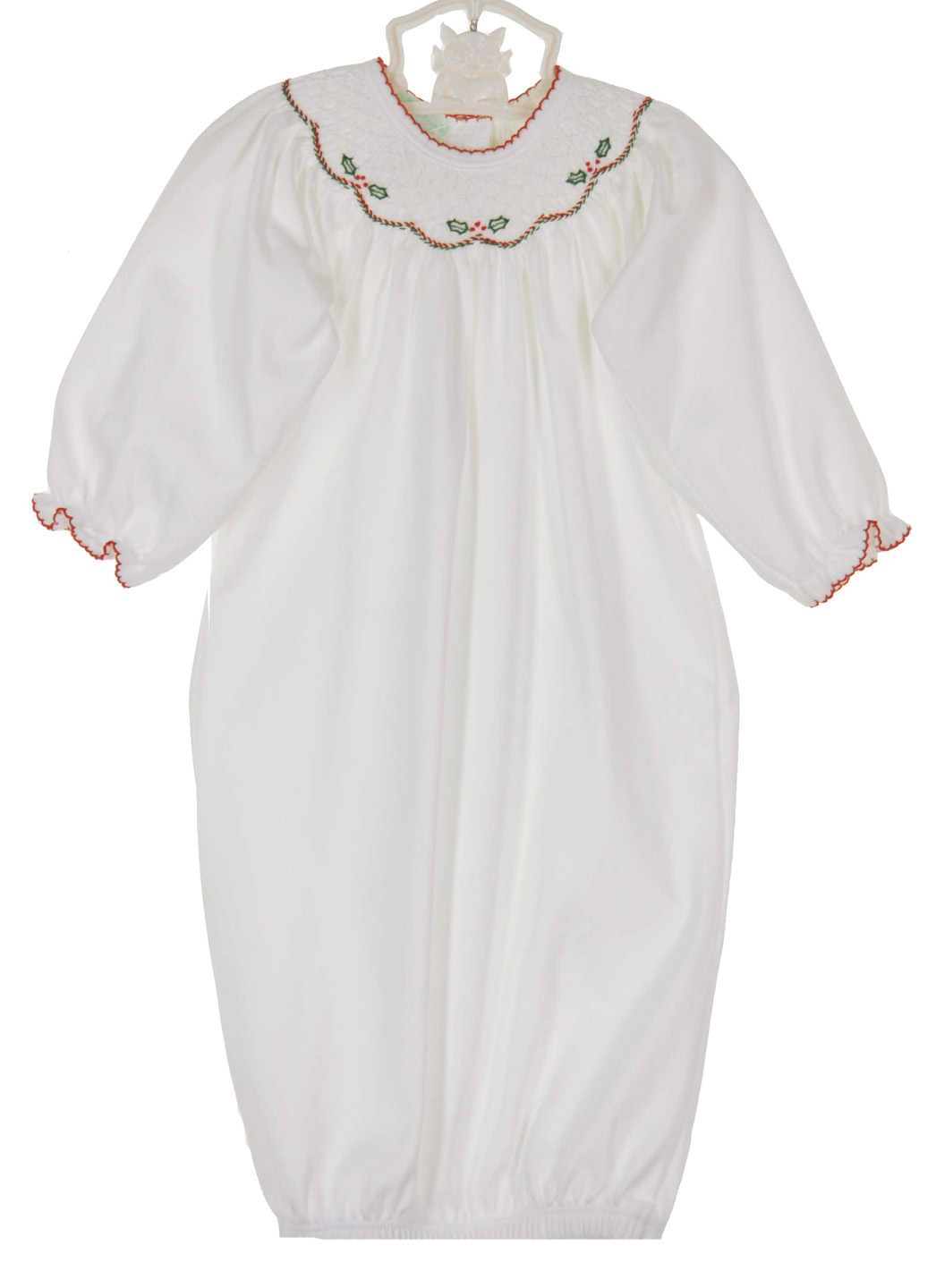 Baby Threads white pima cotton smocked gown with holly embroidery ...