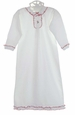 NEW Baby Threads White Pima Cotton Knit Ruffled Daygown with Candy Cane Embroidery