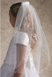 NEW White Veil with Venice Lace Cross Applique and Satin Roses