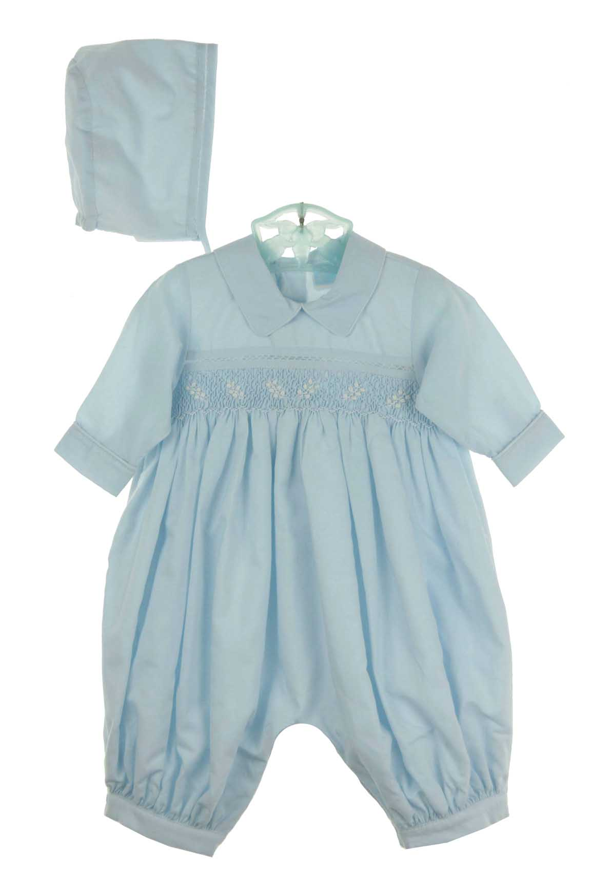 5ddbd6cf5f17 Will Beth blue cotton smocked romper with matching hat