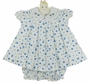 "<img src=""http://site.grammies-attic.com/images/blue-sold-1.gif""> NEW Will'Beth Blue Flower Print Cotton Dress with White Fagoted Collar"