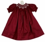 "<img src=""https://p11.secure.hostingprod.com/@grammies-attic.com/ssl/images/blue-sold-1.gif"">  NEW Will'Beth Cranberry Silk Bishop Smocked Dress with Seed Pearls"