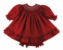 NEW Will'Beth Dark Red Bishop Smocked Dress with Embroidered Flowers and Ruffles