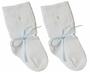 "<img src=""https://p11.secure.hostingprod.com/@grammies-attic.com/ssl/images/blue-sold-1.gif""> NEW Will'Beth Delicate Knit White Sock Style Booties with Blue Embroidery and Blue Ribbon"