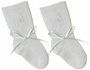 NEW Will'Beth Delicate Knit White Sock Style Booties with White Embroidery and White Ribbon