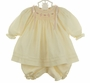 "<img src=""https://p11.secure.hostingprod.com/@grammies-attic.com/ssl/images/blue-sold-1.gif""> NEW Will'Beth Ivory Voile Bishop Smocked Dress with Matching Ivory Pantaloons and Long Sleeved Slip"