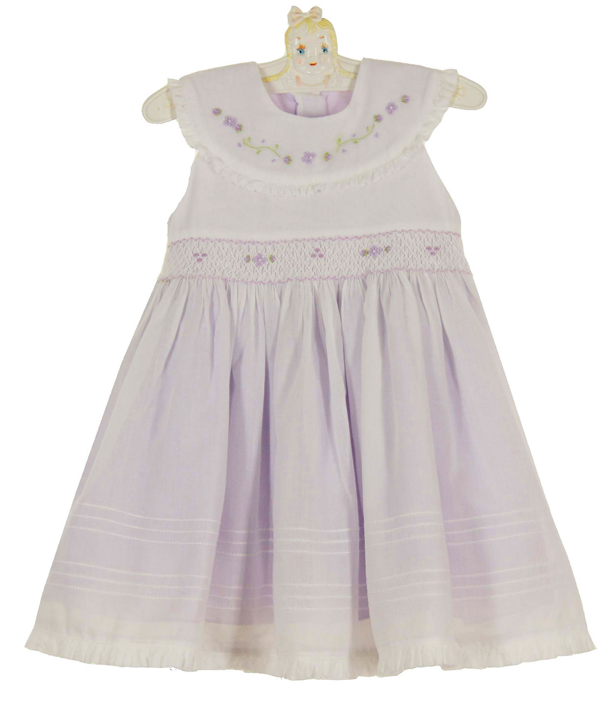 Willbeth Lavender Smocked Dress With White Voile Overlay And