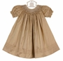 NEW Will'Beth Pale Gold Silk Bishop Smocked Dress with White Embroidery and Tiny Seed Pearls