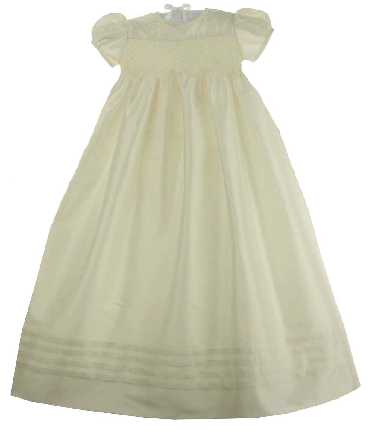 Will\'Beth pearl white silk smocked christening gown and bonnet,silk ...