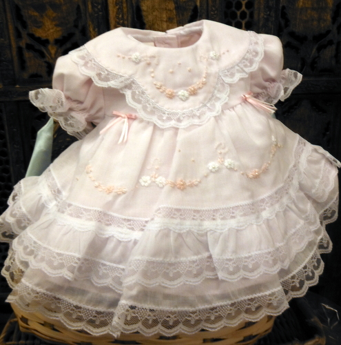 ffb787147630 NEW Will'Beth Pink Baby Dress with Lace, Ribbons, Embroidery, and ...