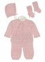 NEW Will'Beth Pink Knit Sweater Set with Matching Hat and Socks