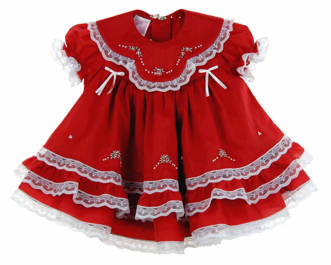 Will'beth red Christmas dress with lace and embroidery,red and ...