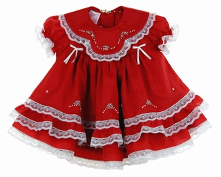 9a6c598835a7 NEW Will'Beth Red Baby Dress with Lace, Ribbons, White Embroidery, and Seed  Pearls