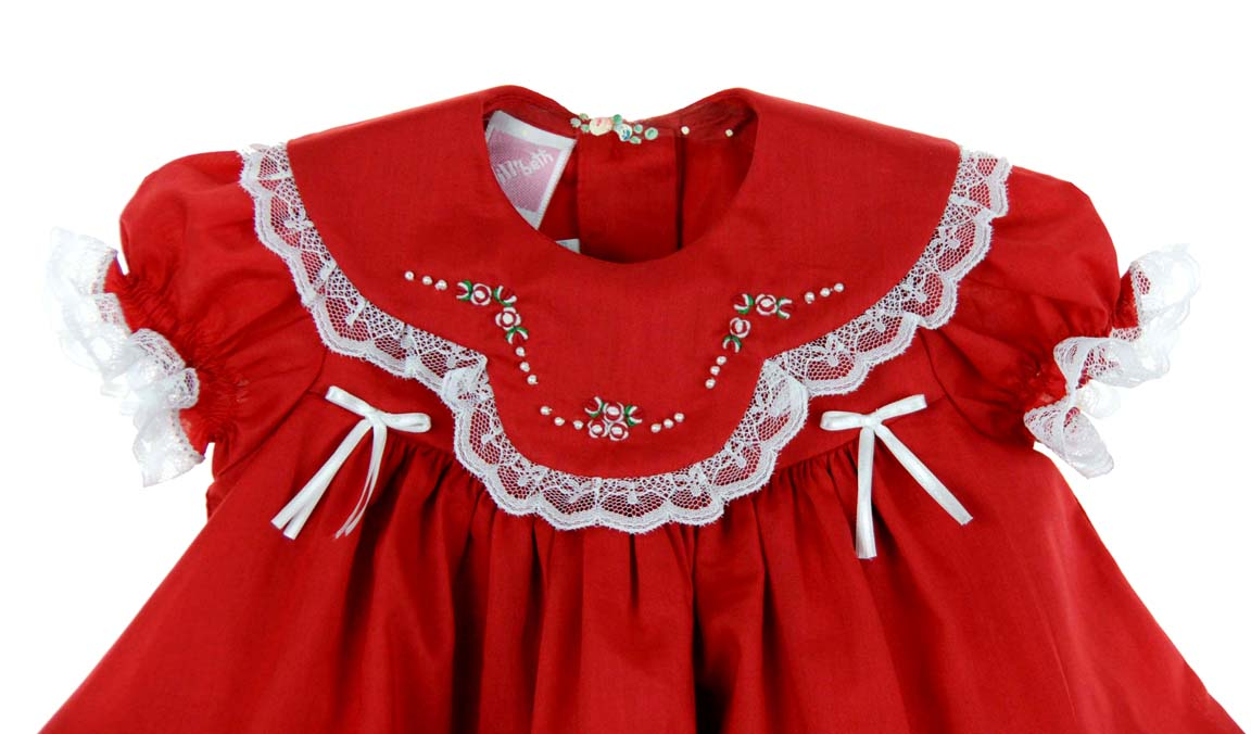 new willbeth red baby dress with lace ribbons embroidery and seed pearls