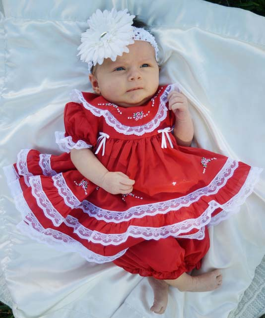 0cdd21980e04 NEW Will'Beth Red Baby Dress with Lace, Ribbons, White Embroidery ...