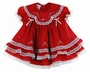 NEW Will'Beth Red Baby Dress with Lace, Ribbons, Embroidery, and Seed Pearls
