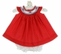 NEW Will'Beth Red Dotted Bishop Smocked Cotton Dress with Red and Navy Embroidery