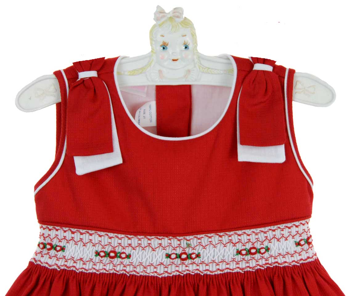 Will Beth Red Cotton Smocked Dress With Rosebud Embroidery