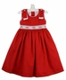 NEW Will'Beth Red Cotton Sleeveless Smocked Dress with Embroidered Rosebuds and Shoulder Bows