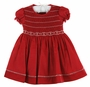 NEW Will'Beth Red Smocked Cotton Pique Dress with White Embroidery