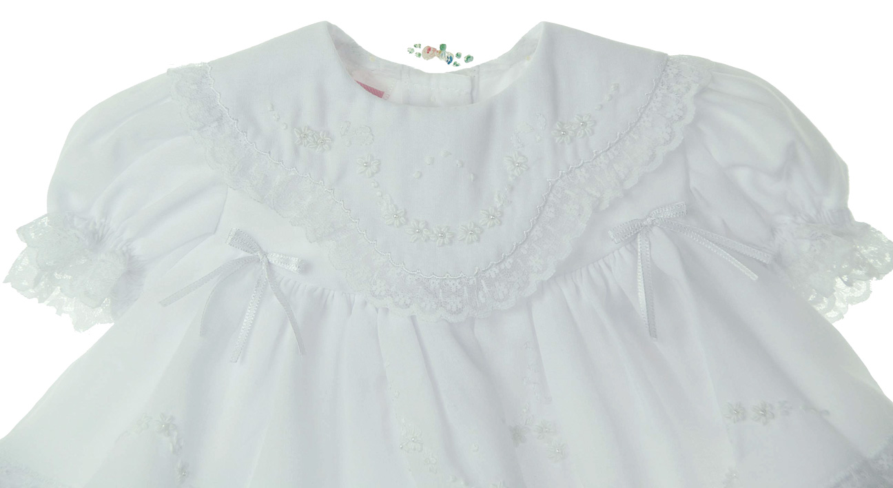 063d16899bb2 NEW Will'Beth White Baby Dress with Lace, Ribbons, White Embroidery, and  Seed Pearls