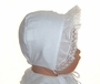 NEW Will'Beth White Batiste Baby Bonnet with Lace, Embroidery, and Tiny Seed Pearls