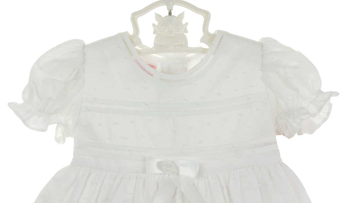 e073c5b251 Will Beth white cotton dotted swiss christening gown