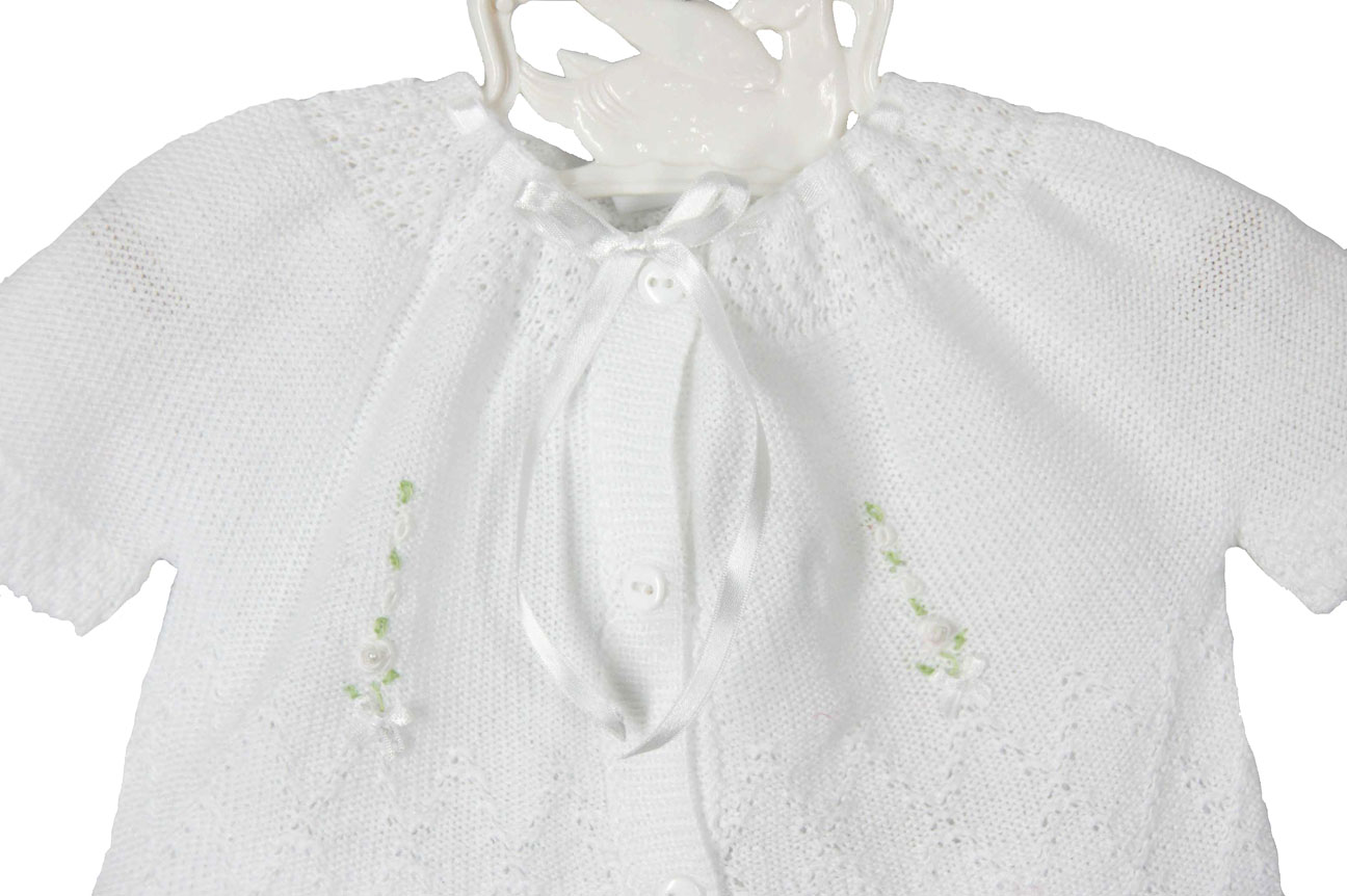 Will'Beth white cotton knit sweater set with white embroidery,baby ...