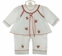 NEW Will'Beth White Cotton Romper with Cherry Embroidered Pinafore