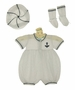 NEW Will'Beth White Knit Sailor Romper, Socks, and Hat Set with Navy Trim