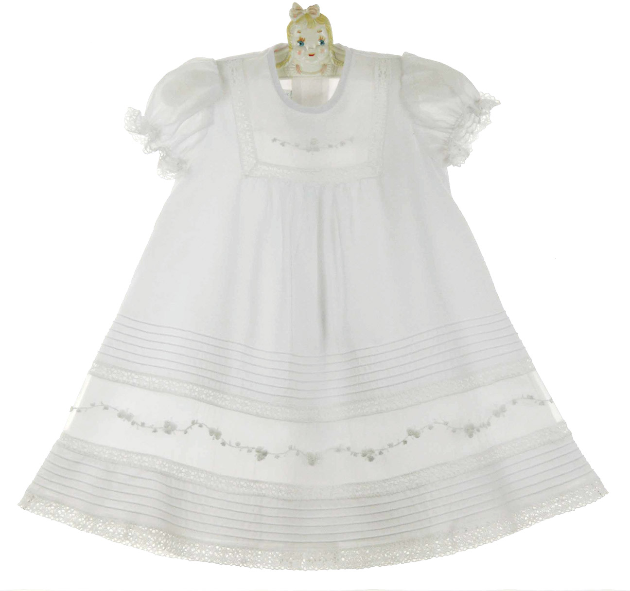New Will Beth White Pintucked Baby Dress With White