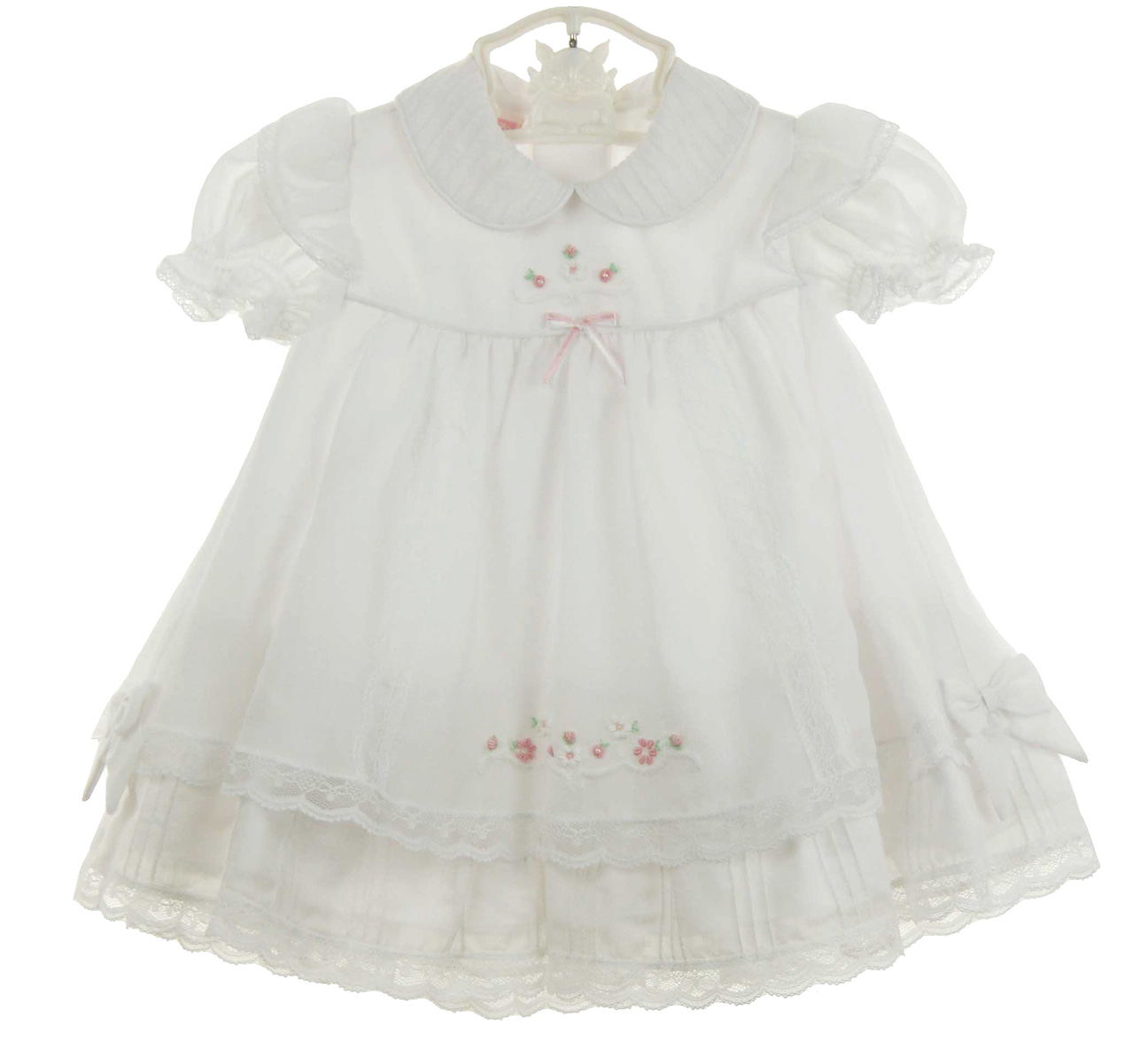 27d32d506 Will'Beth white pintucked dress with pink and white embroidered ...
