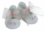 NEW Will'Beth White Cotton Shoes with Embroidered Pink Ribbon Flowers