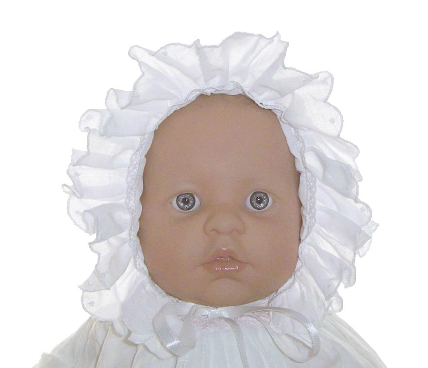 541de834cf3 NEW Will Beth White Smocked Baby Bonnet with Blue Embroidered Flowers