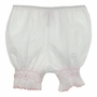 NEW Will'Beth White Smocked Pantaloons with Pink Embroidered Flowers
