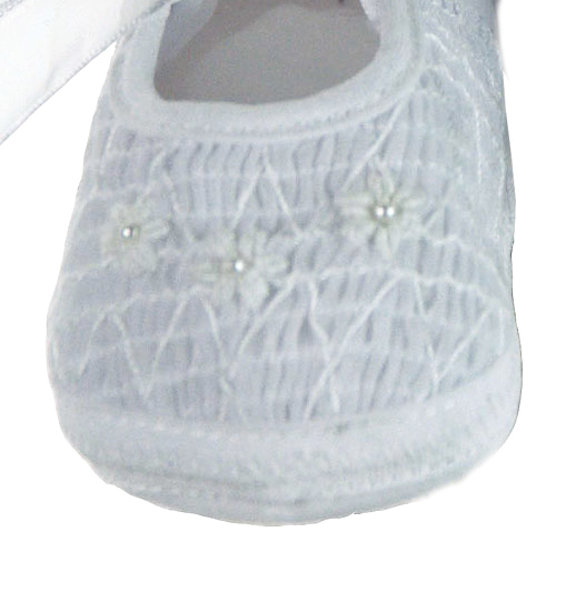 Willbeth white smocked shoes with white embroidered flowerswhite baby shoes baby christening shoes willbeth baby shoes mightylinksfo