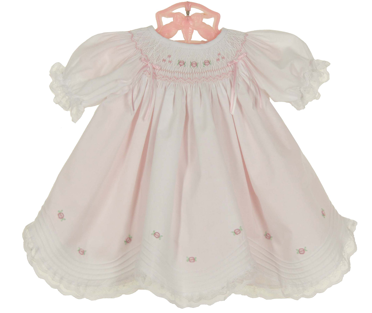 1b25cf3e8 Will'Beth white bishop smocked dress with pink scalloped slip