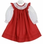 NEW Will'Beth Red Smocked Pinafore with White Slip Dress